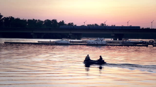 Speedboat and river in sunset video