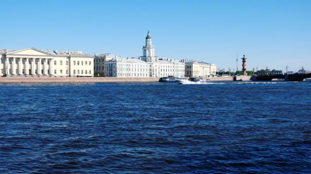 speedboat on the river in saint petersburg - san pietroburgo russia video stock e b–roll