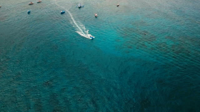 Speedboat on the sea, aerial view.Boracay island, Philippines video
