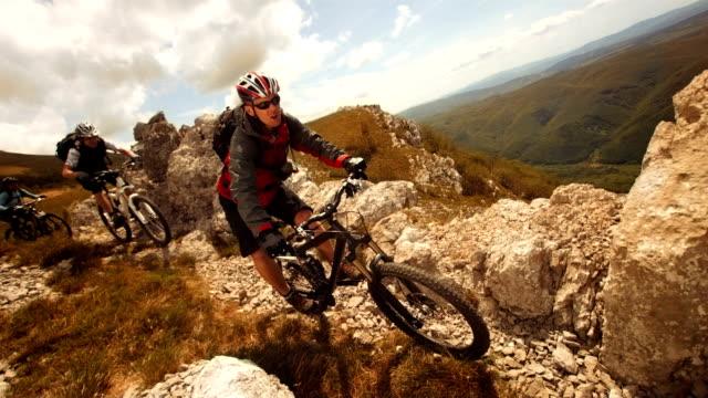 HD SLOW MOTION: MTB Speeding Along Mountain Ridge video
