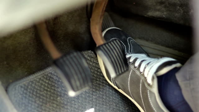 Speeding Car Pedals Close Up video