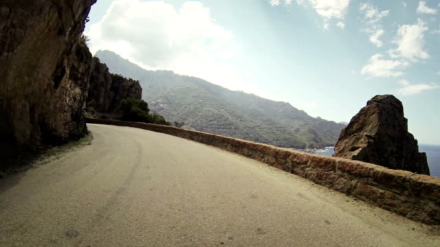 Speedy Rally Car Onboard Camera on Road in Corsica Riding a rally car on the mountain of Corsica: point of view camera filming.  curve stock videos & royalty-free footage