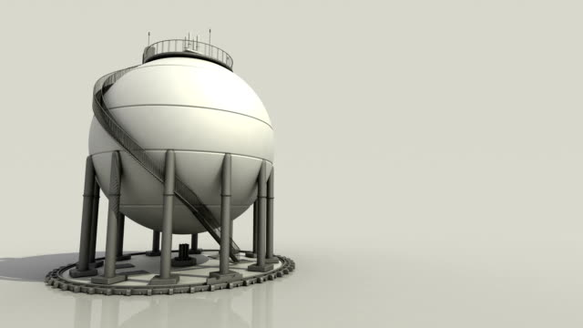 Sphere gas storages in petrochemical plant, Oil tank on background. video
