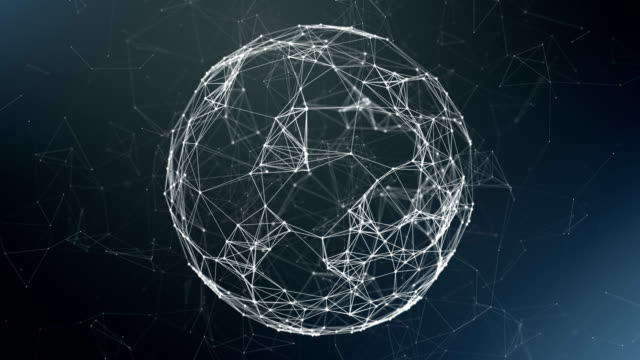 vídeos de stock, filmes e b-roll de esfera, globo e o espaço sob a forma de um plexo. abstrato geométrico com movendo linhas, pontos e triângulos. tecnologia abstrata da fantasia do plexo. - esfera