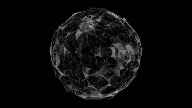 vídeos y material grabado en eventos de stock de esfera gire loop ciclo animación ciclo plexo lowpoly - plexo