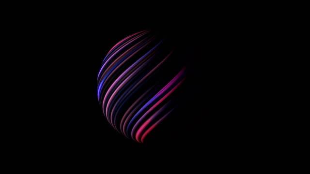 küre parlak parlayan siyah, 3d hatları ile render arka plan, bilgisayar üreten - bling bling stok videoları ve detay görüntü çekimi