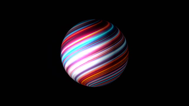sphere with surface with neon effect are in space , modern abstract 3d render backdrop - sorte video stock e b–roll