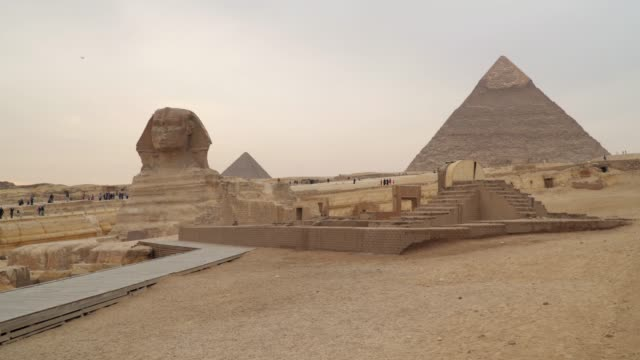 Sphinx on the background of the Hefren pyramid