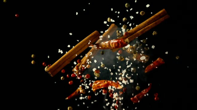 Spice Mix Food Explosion with Chili and Peppercorns video