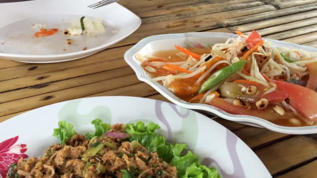 spicy papaya salad - chilli con carne video stock e b–roll