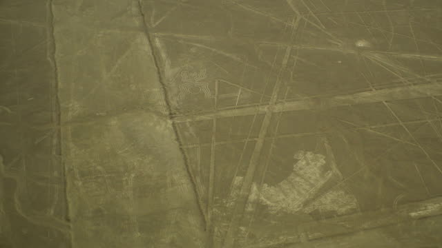 Spider Geoglyph in Nazca Desert Aerial View video