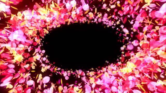 カラフルな花びら、cg アニメーション、パーティクル、ループのスピン - フレーム点の映像素材/bロール