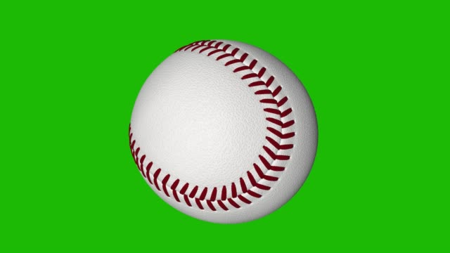 spinning baseball loop with chroma key green background - baseball стоковые видео и кадры b-roll