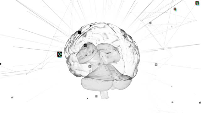 Spinning brain against flickering light trails on white background Animation of 3d white glowing human brain with network of connections and data processing on white background. Global medicine science research concept digitally generated image. biochemistry stock videos & royalty-free footage