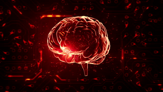 Spinning brain with circuit board background. Loopable. Orange-Green. video