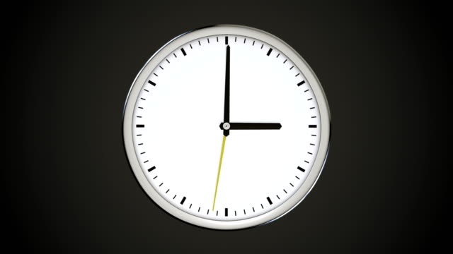 Spinning clock without numbers on dark background. video