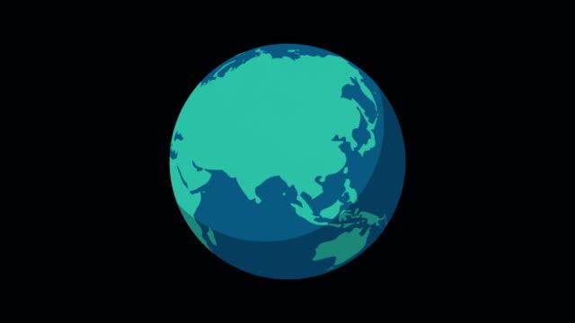 地球を回転させる。地球のアニメーション。オプションのルミナマットを使用したアニメーション。アルファルママットが付属しています。4kビデオ - くるくる回る点の映像素材/bロール