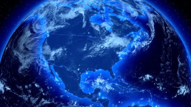 スピニングアースます。グローバルビジネスおよび放送もご覧いただけます。hd ます。ループます。 - 地球のビデオ点の映像素材/bロール