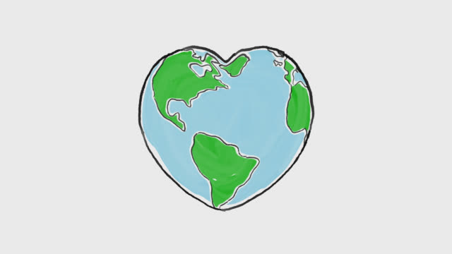 Cartoon earth globe deforms to heart shape Cartoon earth globe deforms to heart shape earth day stock videos & royalty-free footage