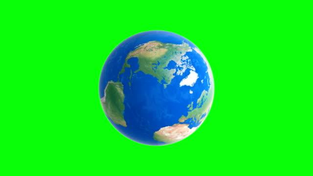 グリーンスクリーンバックグラウンドアニメーションシームレスループ、ビデオ4kで地球を回転させる。 - くるくる回る点の映像素材/bロール
