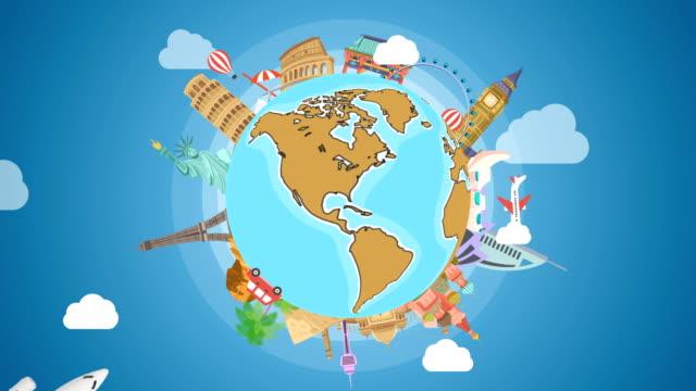 ünlü landmarks ile dönen dünya gezegeni . globetrotting arka plan stok video - hareketli grafikler - turistik yer stok videoları ve detay görüntü çekimi
