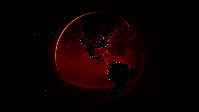 Spinning Earth with bright connections. Loopable. 360. Red. Animation of the Earth with bright connections. Aerial, maritime, ground routes and country borders. Loopable. time zone stock videos & royalty-free footage