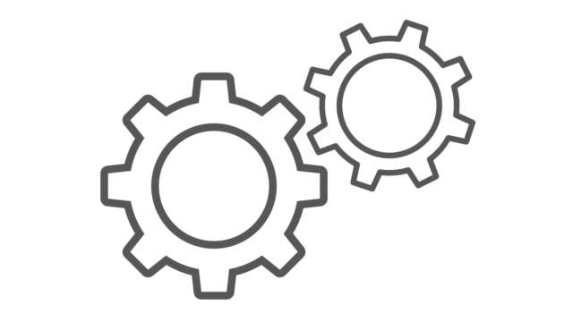 vídeos de stock e filmes b-roll de spinning gears animation with transparent background - dentes
