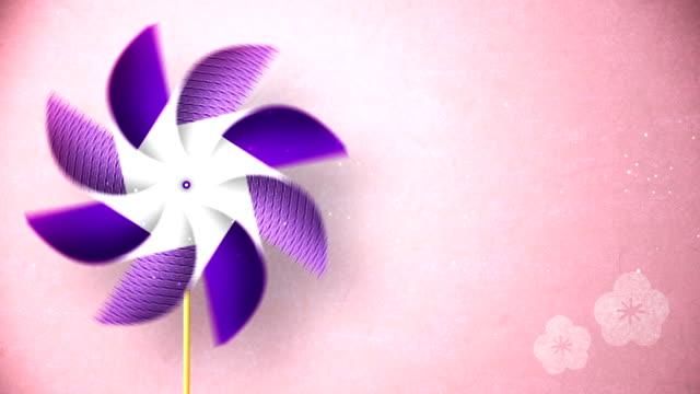 cg アニメーション、ピンクの背景に風車を回転 - 七夕点の映像素材/bロール