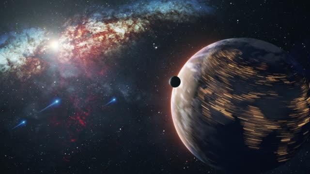 時空の経過で惑星地球を回転させる - ファストモーション点の映像素材/bロール