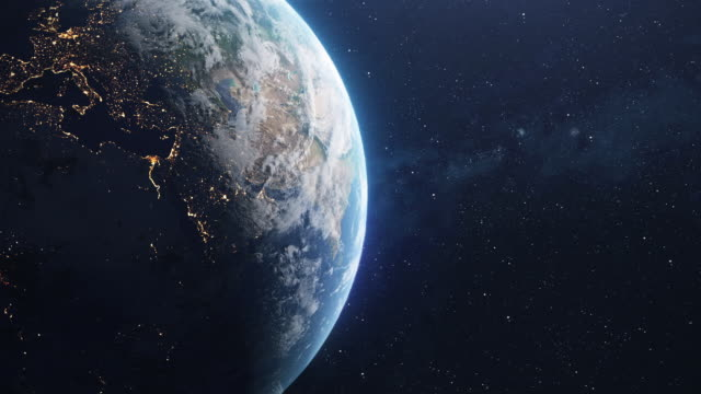 spinning planet earth im weltraum - europa kontinent stock-videos und b-roll-filmmaterial
