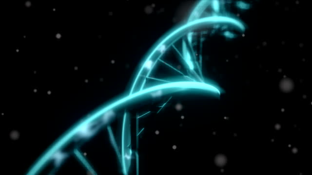 DNA spinning RNA double helix slow tracking shot closeup depth of field DOF blue video