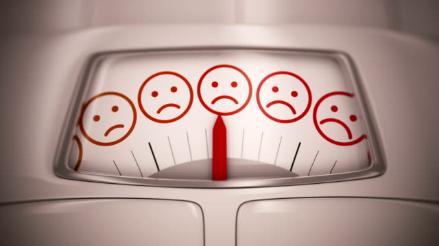 Spinning scale with smiles faces - losing weight