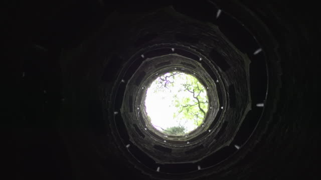 Spinning shot of a stone spiral staircase