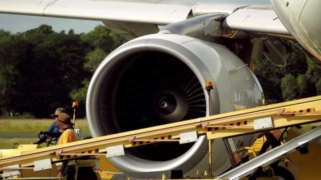 Spinning turbine of jet engine close-up video