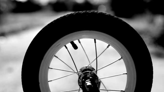 Spinning wheel, bicycle, black and white video