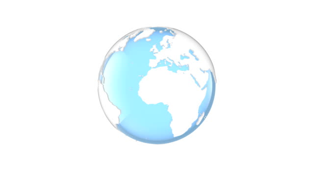 spinning white and blue globe - roteare video stock e b–roll