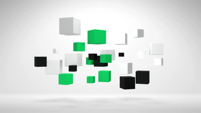 Spinning White Green And Black 3D Cubes In Empty Space video