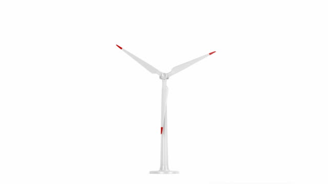 Spinning wind turbine Spinning wind turbine on white background, front view mill stock videos & royalty-free footage