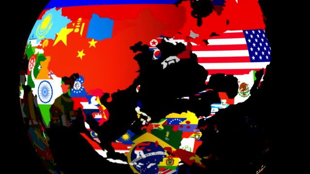 HD Spinning World Flag Globe (Middle) Matt / Alpha & Fill video