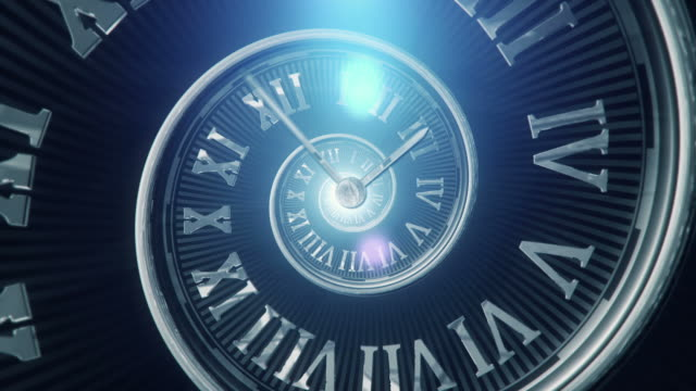 Spiral Clock (Dark, Centered) - Loop Seamlessly loopable animation of a spiraling clock. Useful as a visual metaphor for time running out, fast progression, modern life or chaotic and confusing time schedules. Created in After Effects. instrument of time stock videos & royalty-free footage