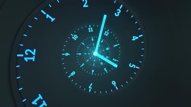 spiralny zegar - przepływ czasu - ciemny, niebieski, turkusowy - dzień filmów i materiałów b-roll