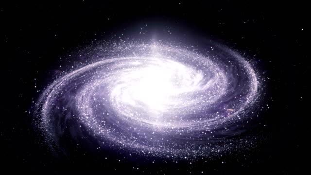 galassia della via lattea a spirale che ruota nello spazio piena di stelle e nebulose - spirale ricciolo video stock e b–roll
