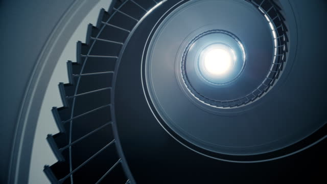 spiral stair to the light. - abstract architecture стоковые видео и кадры b-roll
