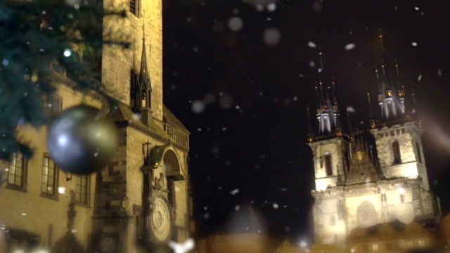 Spires of famous ancient Prague Castle rising in night sky, Czech Republic video