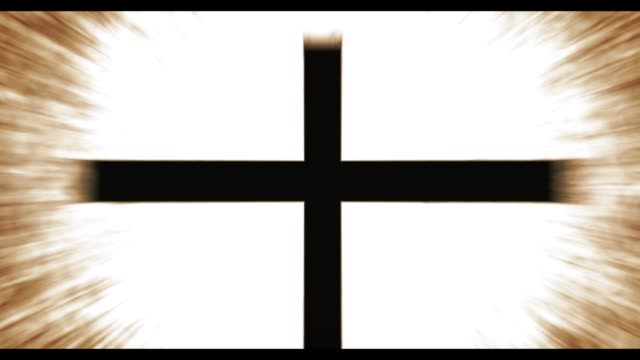 Spirituality Christian Cross Symbol over glowing ray background - cinematic orange version - vídeo