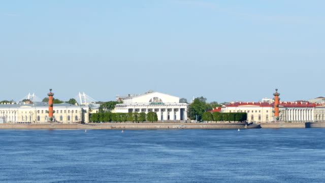spit of the vasilievsky island in the summer sunny day - st. petersburg, russia - san pietroburgo russia video stock e b–roll