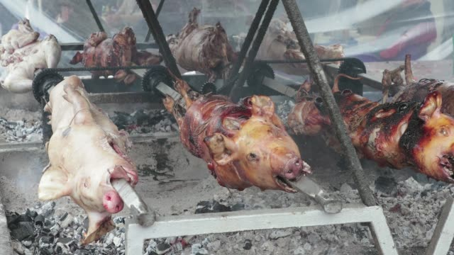 Spit Roast BBQ Lambs and Pigs Spit Roast BBQ Grill skewer stock videos & royalty-free footage