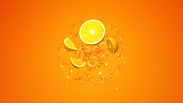 spruzzata di succo d'arancia. - arancione video stock e b–roll