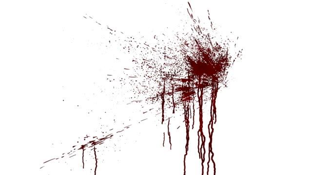 vidéos et rushes de éclaboussures de sang sur un mur blanc. animation numérique avec cache alpha à composer. rendu 3d. 4k uhd - sang