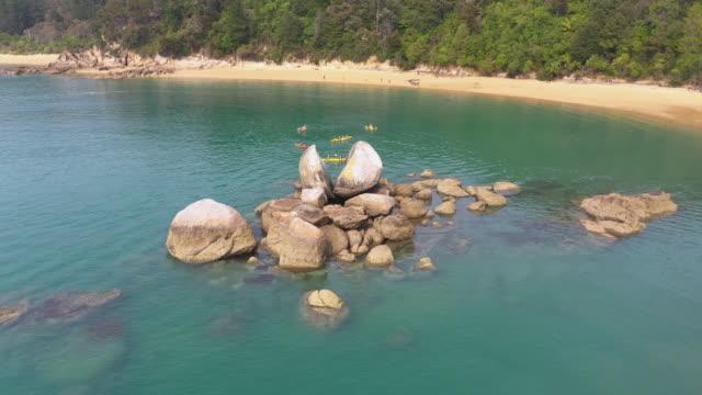 (1/2C)Split Apple rocks in Abel Tasman National park, Kaiteriteri, New Zealand Kaiteriteri, New Zealand. boulder rock stock videos & royalty-free footage